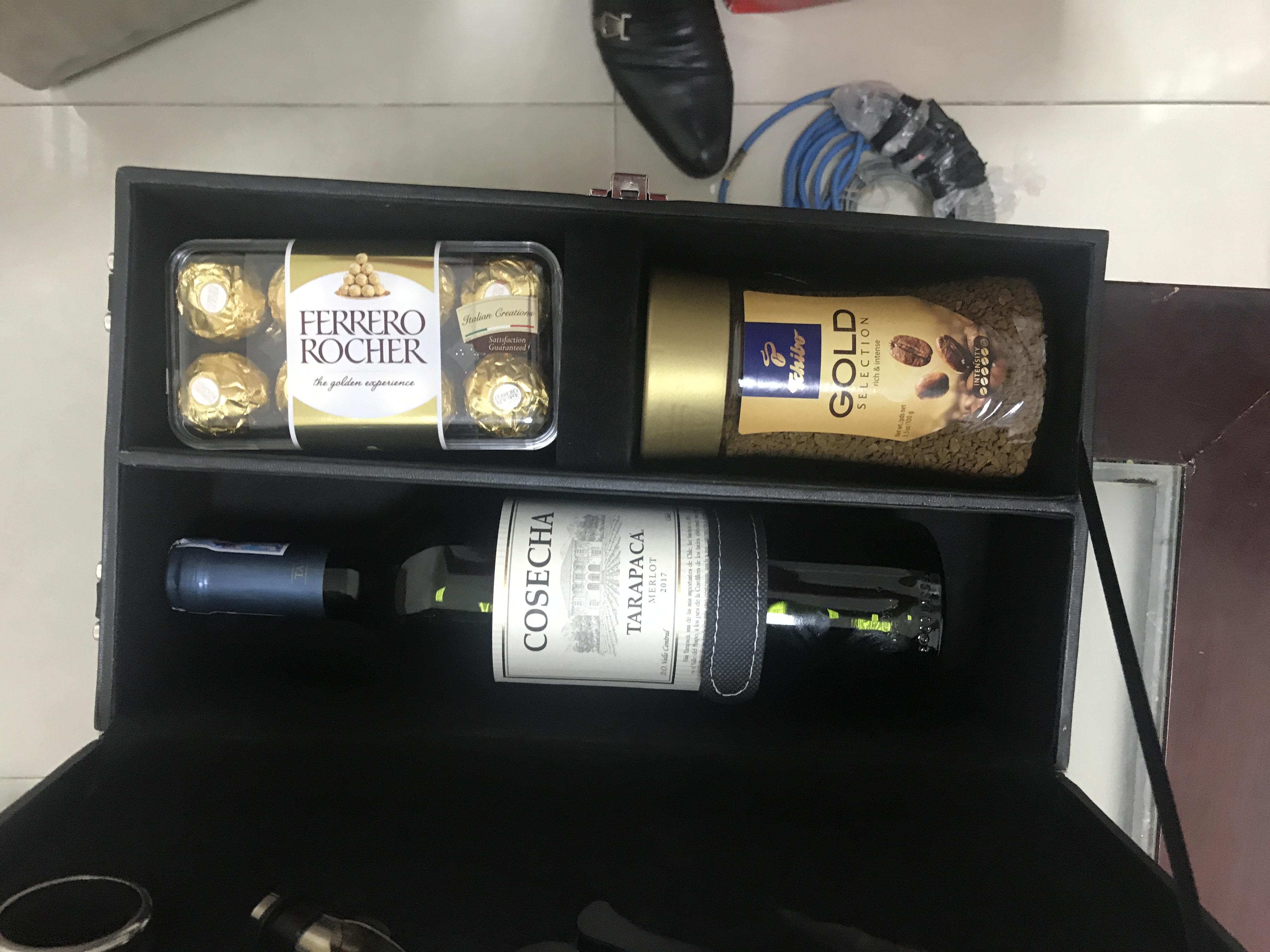 Hộp quà rượu da